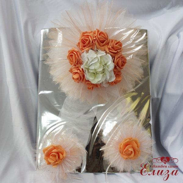 Сватбена украса за кола в цвят праскова E4